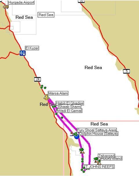 маршрут дайвинг сафари красное море St Johns